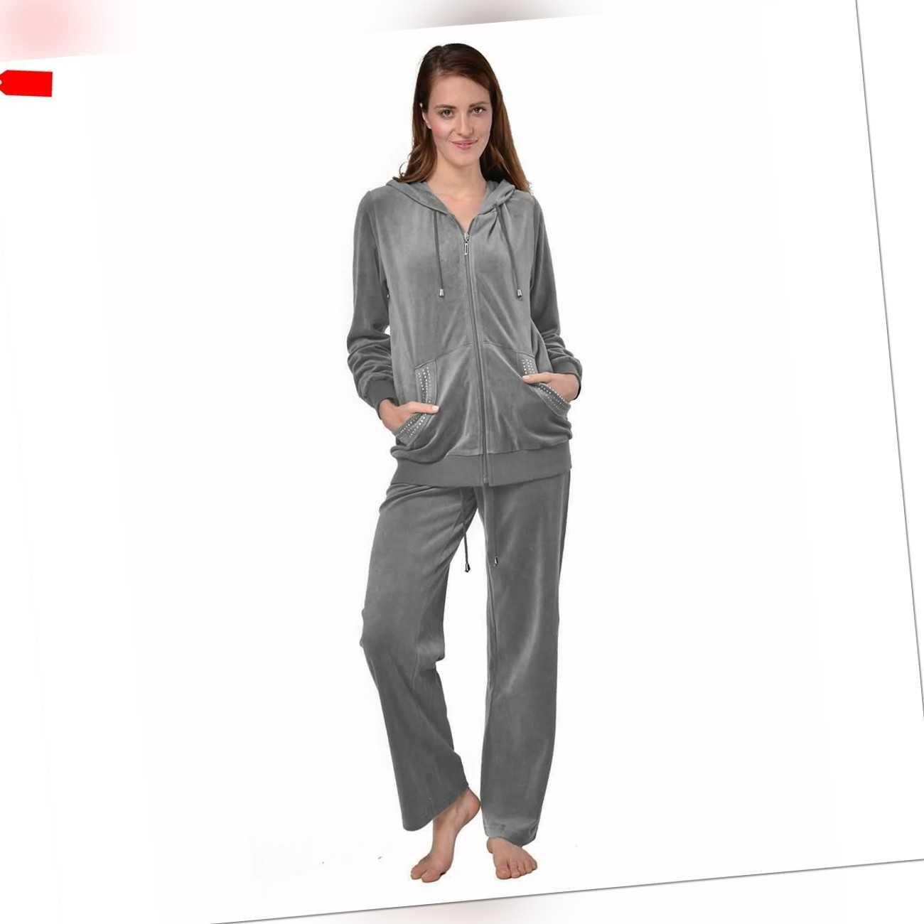 Hausanzug Damen Freizeitanzug Velours Loungewear Strasssteinen Trainingsanzug