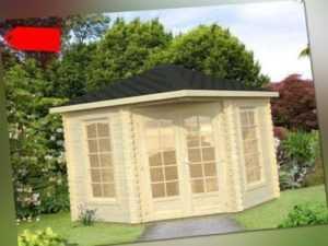 Holz Blech Pavillon Freiburg 300x300 cm Gerätehaus Gartenhütte Datsche Pavillion