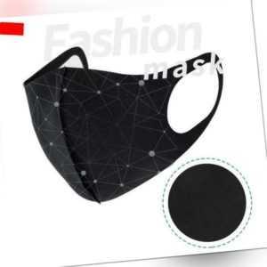 Mundmaske waschbar 3D Style Gesichtmaske Behelfsmaske Mundschutz Schwarz Black