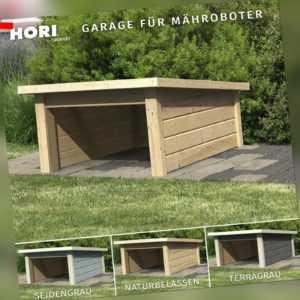 Mähroboter Garage Seidengrau Dach aus Massivholz Carport Rasenroboter Unterstand