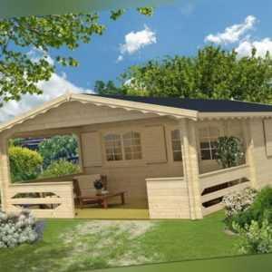 Gartenhaus CAROLA Premium 5x5 m + 3 m Terrasse, 45mm Doppelnut inkl. Boden, ISO