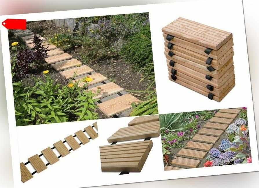 Gartenweg LÄRCHE, Holztritte von WEIDENPROFI, Gehwegplatten Holz Terrassendielen