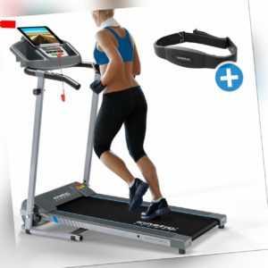 Laufband mit Pulsgurt elektrisch 10 km/h LCD Fitness Heimtrainer klappbar 120 kg