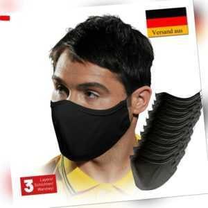 Mundmaske 10 Stk. Schwarz Waschbar 100% Baumwolle 3 Lagig Atemschutz (B10MASSAF)