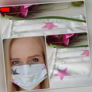 Damen Behelfsmaske Mund Nasen Maske Stoffmaske mit Draht Sterne pink genäht 4