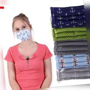 Behelfs-Mundschutz - Stoff Mundbedeckung Stoffmaske mit Vlies NEW 3 lagig