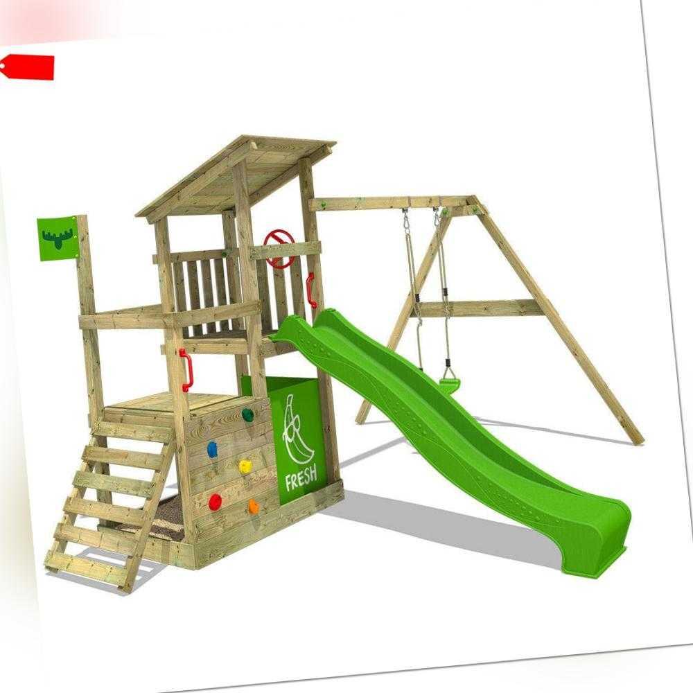 FATMOOSE Spielturm Kletterturm FruityForest Fun XXL Holz Garten Rutsche Schaukel   ForLife24.com