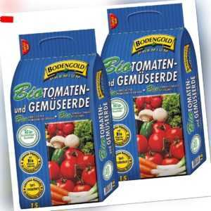 2x BIO Tomaten- & Gemüseerde 30 Liter Bodengold Premium Tomatenerde 30 L 2 Sack