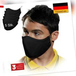 Mundschutz 5 Stk. Schwarz Waschbar 100% Baumwolle 3 Lagig Atemschutz (B5MASSAF)