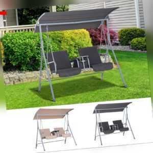 Outsunny Hollywoodschaukel Gartenschaukel 2-Sitzer mit Sonnendach Beige/Grau