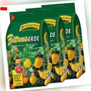 3 Sack Zitruserde 45 Liter Bodengold Premium Citrus-Spezialerde Blumenerde 45 L