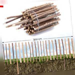Steckzaun Holz mit Rinde · Beet Einfassung Umrandung Roll Staketen Garten Zaun