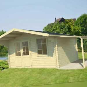 40 mm Gartenhaus + Schleppdach 410x320cm Gerätehaus Blockhaus Holzhaus Holz Neu
