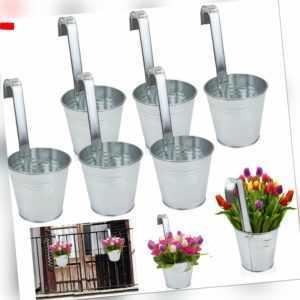 6 x Hängetopf Blumentopf Hängetöpfe Garten Balkon Blumen Topf Kräutertopf Zink