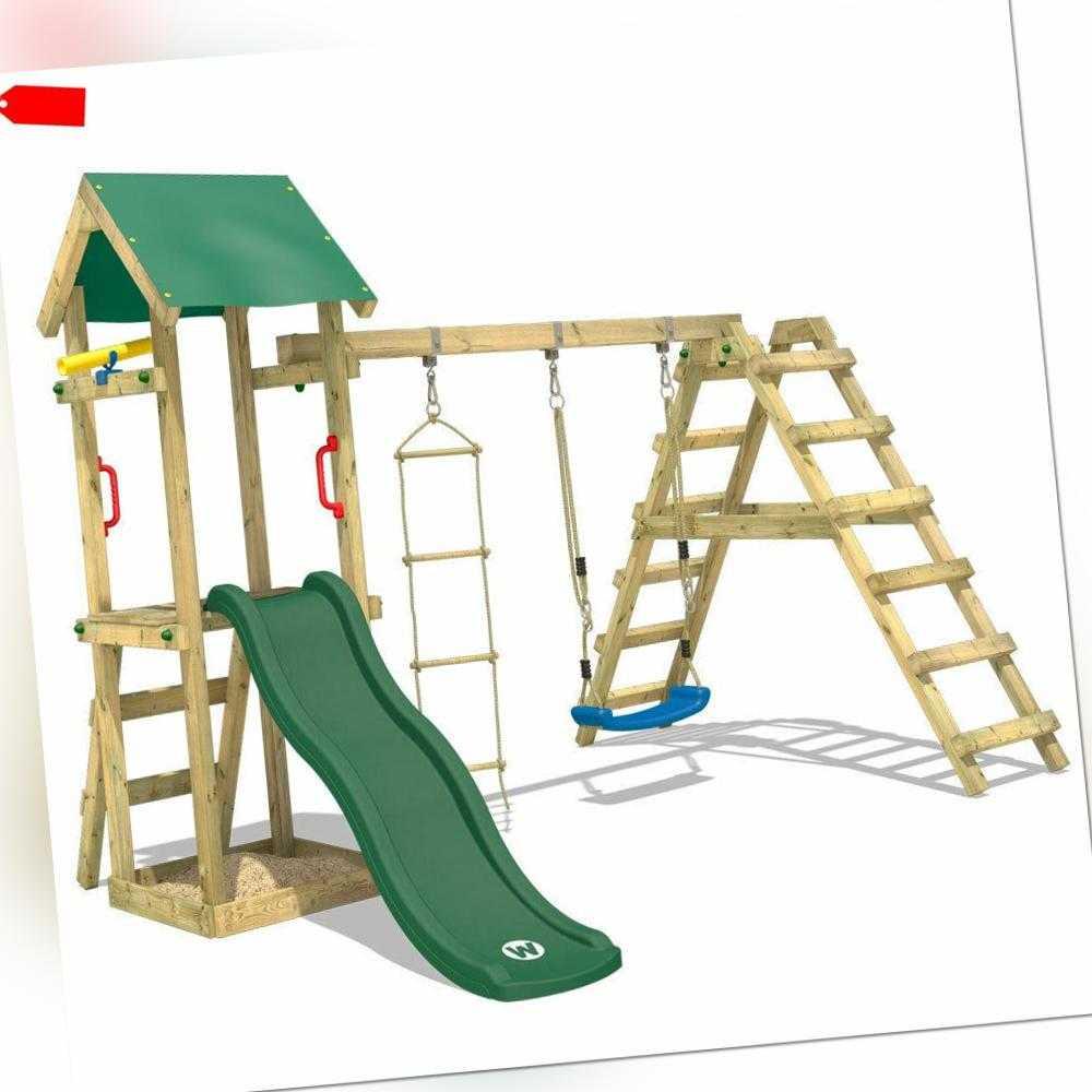WICKEY Spielturm Klettergerüst TinyLoft mit Schaukel, grüner Rutsche