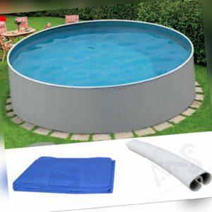 Stahlwandpool 3,60m x 0,90m rund Pool Rundpool Poolfolie Swimmingpool grau