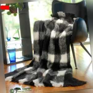Wolldecke Alpaka super weich wie Kaschmir schwarz weiß
