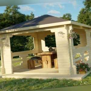 Gartenpavillon Bergen Pavillon offen ca. 400 x 400 cm Gartenhaus 40 mm NEU!!