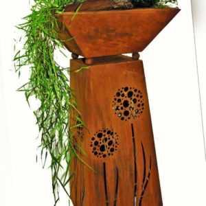 Dekosäule mit Pflanzschale | Gartensäule aus Metall in Rostoptik Edelrost Blumen