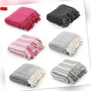 100% Baumwolldecke Wohndecke Wolldecke Überwurf Baumwolle