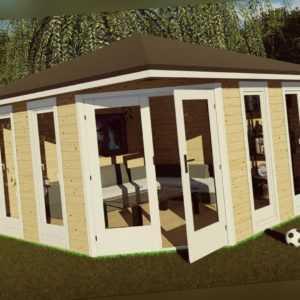 5-Eck Gartenhaus Modern, 4x4M Pavillon Blockhaus Holz 40mm Emden EB40063F18