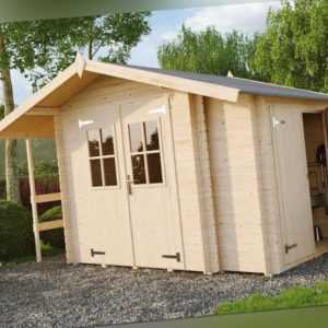 Lasita Maja Gartenhaus VILANO 2 350x220, 28mm, inkl.Boden Anbauschrank+Schleppda