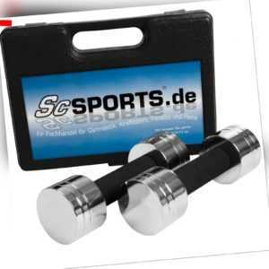 ScSPORTS® Kurzhanteln 5 kg Hantelset 2 x 2,5 kg Aerobic Hanteln Koffer schwarz