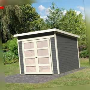 Gartenhaus Gerätehaus Schuppen Geräteschuppen Holz HORI Herning grau 242 x 246