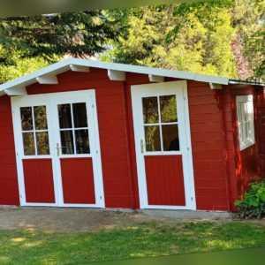 34mm Gartenhaus 450x300 cm Gerätehaus Holzhaus Holz Schuppen Hütte Schweden Rot