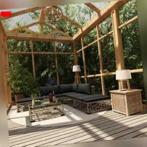 vidaXL Gartenmöbel 6-tlg. Poly Rattan Grau Lounge Sitzgruppe Garnitur Sofa