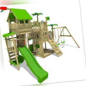 FATMOOSE Spielturm Kletterturm PacificPearl Pro XXL mit Schaukelanbau Rutsche
