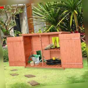Outsunny Geräteschuppen Gartenhaus Gerätehaus 3 Fächer Asphaltdach Holz
