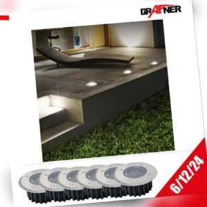 Grafner® Solar Bodenstrahler Einbaustrahler Bodenleuchte Edelstahl LED rund Set