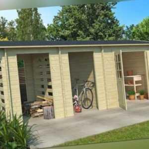 Gartenhaus Hokkaido 2 570 x 270 cm, 3 Räume, 28 mm Blockbohle LASITA MAJA