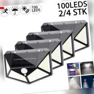 2x 100LED Solarleuchte Wandleuchte Gartenlampe mit Bewegungsmelder Solarstrahler