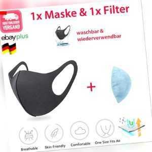 Atemmaske waschbar Mundmaske Stoffmaske Mundschutz Nasen-Mund-Maske Black FILTER