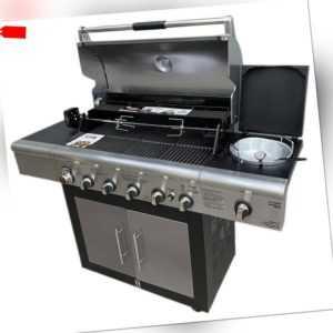 BRINKMANN Gasgrill 6+1 Edelstahl Barbecue Grill Grillwagen BBQ Seitenkocher