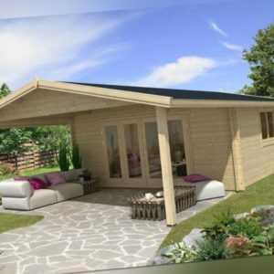 TOPGARDEN Gartenhaus Premium 5x5m Camilla + 3m Vordach, 45mm, Falttür, +Boden