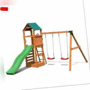 Spielturm Pirat T1 Kletterturm mit Schaukel, Sandkasten und Rutsche für 6 Kinder