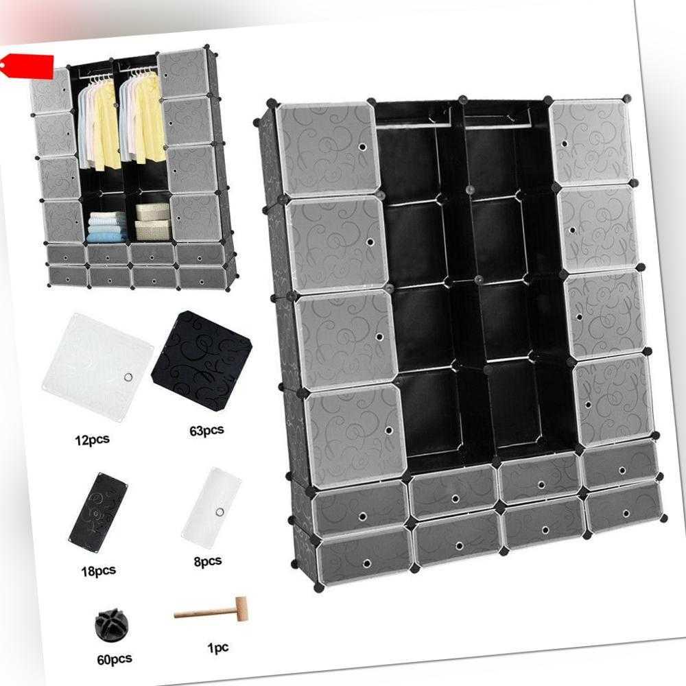 Regalsystem Kleiderschrank DIY Schwarz Garderobe mit Türen 16 Würfel Steckregal