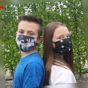 KinderMaske MundMaske NoseMaske Mundschutz Gesichtsmaske für Kinder Sterne Dinos
