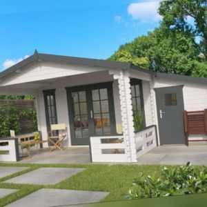 44 mm Gartenhaus + Terrasse + Anbauschuppen 585x530 cm Blockhaus Holzhaus Holz