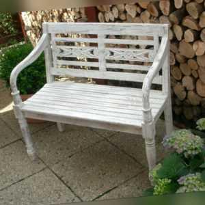 Gartenbank Holz Teak massiv,2-Sitzer Hochzeit , Shabby-Look / Weiß / Altweiß
