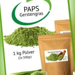 Gerstengraspulver f. Gerstengrassaft Smoothie 1kg (2x 500gr) - 100% reine Natur!