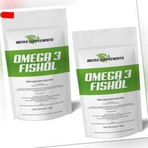 OMEGA 3 + Vitamin E / 350 - 950 Kapseln - 1000mg hochdosiert / Lachsöl - Fischöl
