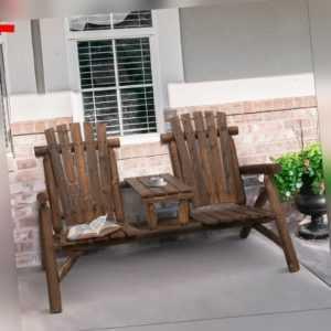 Outsunny Gartenbank mit Tisch Gartenmöbel Sitzbank 2 Stühle Massivholz Braun
