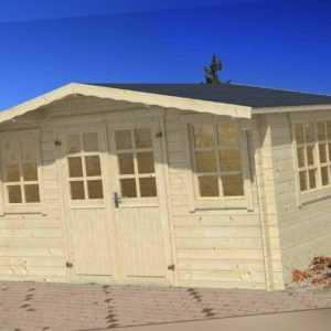 34mm Gartenhaus 400x400cm DF Gerätehaus Holzhaus Holz Blockhaus Schuppen Hütte