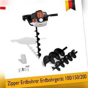 Erdbohrer Benzin Erdbohrgerät Erdlochbohrer Pfahlbohrer Bohrer Set 100/150/200