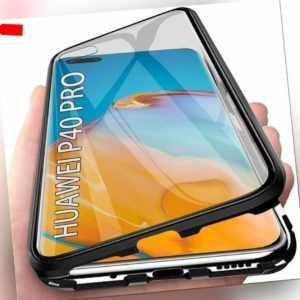 Hülle Für Huawei P40 /Pro / Lite Magnet Metall Glas Case Handy Tasche Schutz