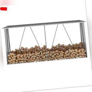 Brennholzlager Stahl Kaminholzunterstand Brennholzregal 330 x 84 x 144/152 cm DE